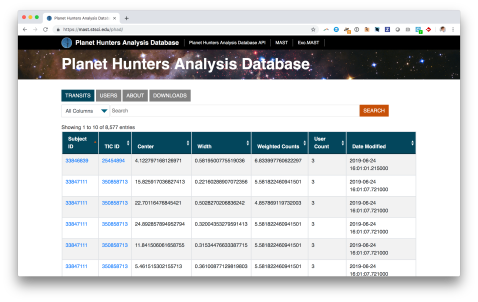 Screenshot of the PHAD database